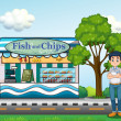 A man near the fish and chips store — Stock Vector