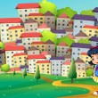 A young girl walking at the hilltop across the tall buildings — Stock Vector #32642017