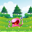 A pink monster near the pine trees — Stock Vector