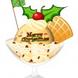 A glass of icecream for christmas — Imagen vectorial
