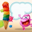 Stock Vector: Happy pink beanie monster near giant icecream