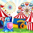 A carnival with a blue monster holding a shield — Stock Vector