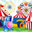 Stock Vector: A carnival with a blue monster holding a shield