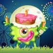 A monster celebrating a birthday near the carnival — Stock Vector