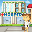 Stock Vector: A pretty dentist in front of the hospital