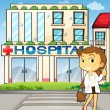 A pretty dentist in front of the hospital — Stock Vector