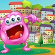 Beanie monster shouting at hilltop across buildings — Stockvector #32643393