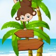 A playful monkey at the beach with an arrowboard — Stock Vector