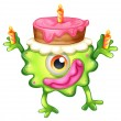A birthday of a green monster — Stock Vector
