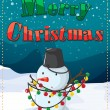 Stock Vector: A christmas card with a snowman