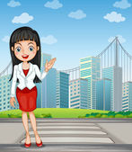 A pretty woman presenting the tall buildings — Stock Vector