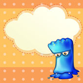 A sad monster with an empty cloud template — Stock Vector