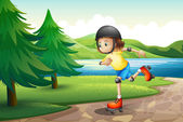 A young girl rollerskating at the riverbank with pine trees — Stock Vector