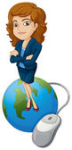 A woman above the globe with a computer mouse — Stock Vector