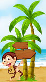 A beach with a playful monkey near the palm trees — Stock Vector