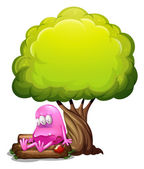A poisoned monster sitting above the log under the tree — Stock Vector