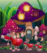 A colony of ants near the mushroom house — Stock Vector