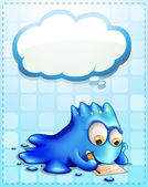 A blue monster writing with an empty cloud callout — Stockvector