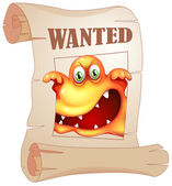 A poster with a wanted monster — Stock Vector