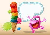 A happy pink beanie monster near the giant icecream — Stockvector