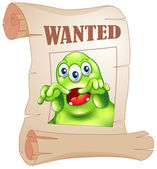 A wanted three-eyed monster in a poster — Stock Vector