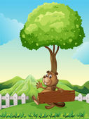 A hilltop with a beaver holding a wooden signboard — Stock Vector