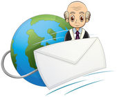 A globe with a bald old man and an envelope — Stock Vector