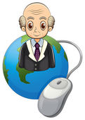 A globe with a bald old man and a computer mouse — Stock Vector
