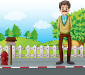 An old man at the roadside standing near the mailbox — Stock Vector