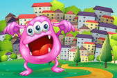 A beanie monster shouting at the hilltop across the buildings — Stockvektor