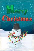A christmas card with a snowman — Stock Vector
