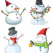 Stock Vector: Four snowmen