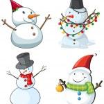 Four snowmen — Stock Vector