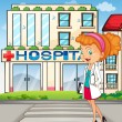 A pretty doctor standing in front of the hospital — Stock Vector