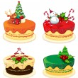 Four cake designs for christmas — Stock Vector