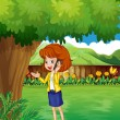 A woman with a cellphone standing under the tree — Imagen vectorial