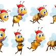 Santa bees — Stock Vector