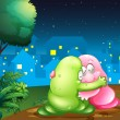 Постер, плакат: A pink and a green couple monsters hugging each other at the pat