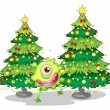 A monster dancing in front of the christmas trees — Stock Vector