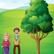 Stock Vector: Grandparents at hilltop near tree