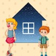 Two siblings in front of the house — Stock Vector