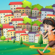A hilltop with a girl running across the buildings — Stock Vector