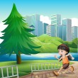 Young girl running at riverbank — Stock Vector #33102693