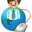 A globe with a businessman and a computer mouse — Vector de stock
