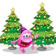 A pink beanie monster near the green christmas trees — Stock vektor