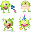 Stock Vector: Activities of the green one-eyed monster