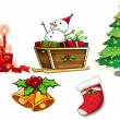 Stock Vector: Different symbols of christmas