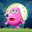 An in-love pink monster at the carnival — Stock Vector #33103565