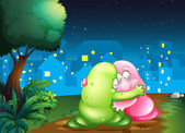 A pink and a green couple monsters hugging each other at the pat — Stock Vector