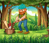 A hardworking woodman at the forest — Stock Vector